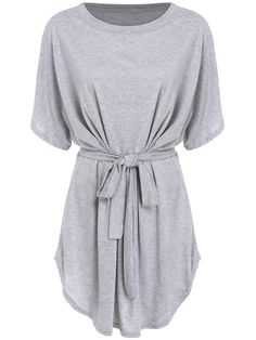 Short Sleeve Self-Tie Dolman Dress