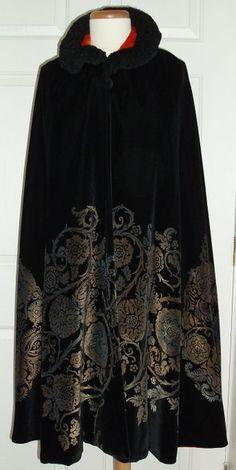 Maria Monaci Gallenga, silk velvet hand-stencilled evening cape, c. 1923