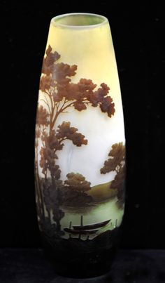 Galle Vase Overlayed and Acid Etched $9,950