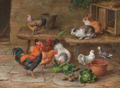 EDGAR HUNT (British, 1876-1953). Rabbits, Chickens, and Pigeons, 1948