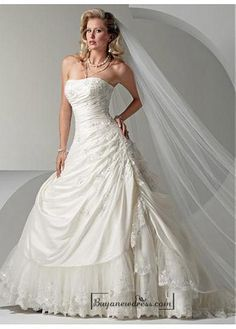 Beautiful Elegant Exquisite Strapless Taffeta Wedding Dress In Great Handwork - Buyanewdress.com