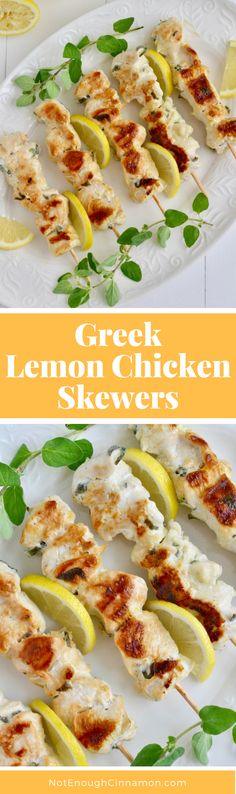 Bits of chicken in a marinade of oregano, garlic and lemon. Super tasty and easy. Perfect for summer BBQs. Gluten free. Recipe on NotEnoughCinnamon.com #cleaneating