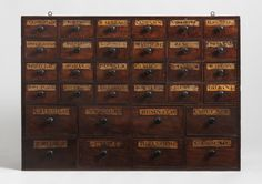 Apothecary drawers.