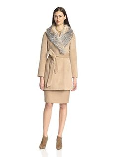 Sofia Cashmere Women's Wrap Coat with Badger Fur Collar (Blonde Natural)