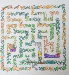 Coloured-in maze from the Enchanted Forest book - thought Autumn colours would be right for this time of year
