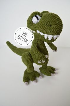 Crochet PDF dinosaur pattern, Amigurumu Dino Pettern, Crochet T-Rex, Handmade green T-Rex Do you want to surprise someone with an unusual gift made all by yourself? Then this green T-Rex is Crochet Stitches Uk, Treble Crochet Stitch, Single Crochet Stitch, Crochet Hook Sizes, Crochet Basics, Crochet Hooks, Crochet Dinosaur Patterns, Crochet Patterns Amigurumi, Magic Ring Crochet