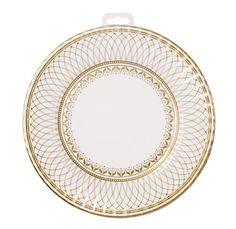 Party porcelain gold & white high end paper party plates #Bonjourfete