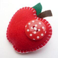 Juicy Apple Felt Brooch/Pin Lovely Teacher Gift by DevonlyCrafts,