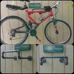 Welcome To UNIQUE PRIMTIQUES! Unique Primtiques Industrial Pipe Metal Bike Rack OVERALL SIZE IN PHOTO: 13 wide x 12 deep x 6 high with 3 flanges