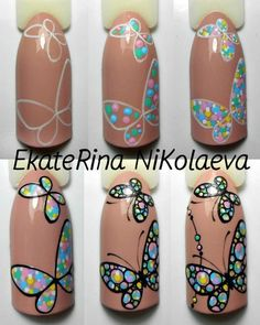Butterfly Nail art tutorial, dots. Nails University. Ногти и Маникюр пошагово.