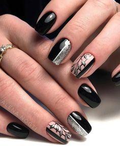 Black Manicure, Nail Manicure, Black Nails, Manicure Ideas, Gel Nails, Square Nail Designs, Best Nail Art Designs, Prom Nails, Long Nails
