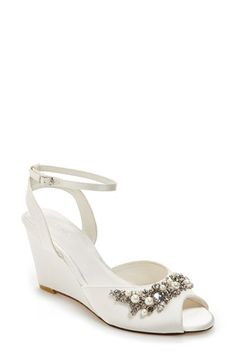 Free shipping and returns on Menbur 'Esther' Wedge Sandal (Women) at Nordstrom.com. Pearly beads and dainty crystals sparkle on a dramatic peep-toe sandal cast in lush satin with a slim ankle strap.
