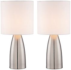 Aron Modern Table Lamps 14 High Set of 2 Touch On Off Switch Silver Metal White Drum Shade for Bedroom Bedside Office - 360 Lighting Touch Table Lamps, Table Lamps For Bedroom, Touch Lamp, Table Lamp Sets, Silver Floor Lamp, Floor Lamp Base, Hallway Lamp, Nightstand Lamp, Contemporary Table Lamps