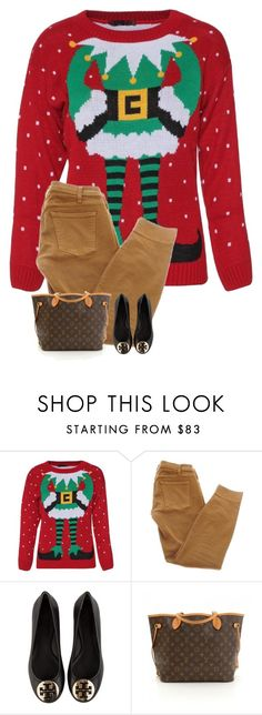 """""""watching christmas movies by the fire"""" by blonde-prepster ❤ liked on Polyvore featuring Current/Elliott, Tory Burch and Louis Vuitton"""