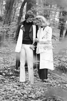Yves Saint Laurent and Lauren Bacall in 1968. Photo by Alain Decruck - WWD.com