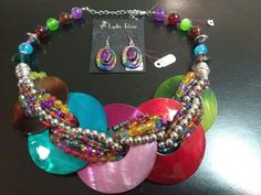 Chunky Multi-Colored Bib Necklace with Matching Earrings Fashion Jewelry