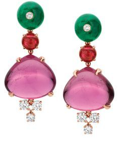 Bulgari tourmaline and emerald earrings.