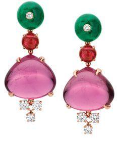 Bulgari tourmaline and emerald earrings.