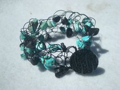 Turquoise and Obsidian Bracelet by MicheladasMusings on Etsy, $12.00