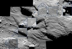 As Philae descended towards Comet 67P/Churyumov-Gerasimenko last Wednesday, the OSIRIS camera aboard the Rosetta satellite tracked its progress. The ESA has now released this stunning mosaic showing the probe as it drifted across and bounced on the surface.