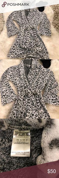 VS PINK Super Soft Leopard Grey Robe Never worn!!! Brand new!! So soft Victoria's Secret leopard print grey robe. Runs big PINK Victoria's Secret Intimates & Sleepwear Robes