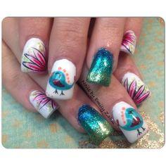 Bird and flower nail art