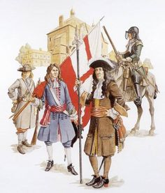 "Massachusetts troops, around 1690 - ""This reconstruction shows some of the defenders of the English colony of Massachusetts, circa 1690. On the left is a militiaman; at left centre, an ensign is carrying a company flag of the Boston Regiment; in the middle stands an officer with sword and spontoon; at right, a cavalryman is wearing a cuirass and helmet. Reconstruction by David Rickman."""