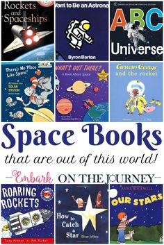 Fill your bookshelves with books about space, planets, astronauts, and more. Inspire your kids to get outside and Space Activities For Kids, Space Preschool, Preschool Books, Library Activities, Teaching Science, Science Activities, Science Education, Physical Education, Planet Books