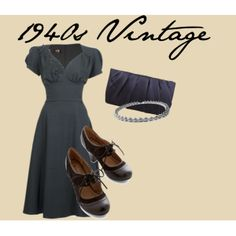 """1940s Vintage fashion"" by marybweird on Polyvore"