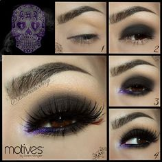 Smokey eyes with a pop of color ツ       1. Apply Eye Shadow Base on top & lower eyelids, highlight brow bone with Pressed Eye Shadow in VANILLA & blend in the crease Pressed Eye Shadow in CAPPUCCINO  2. Cover mobile eyelid with Khol Eyeliner in ONIX , blend the edges & place over it ...