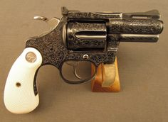 Colt Diamondback Revolver Unique Engraving and Plated - Ivory Grips