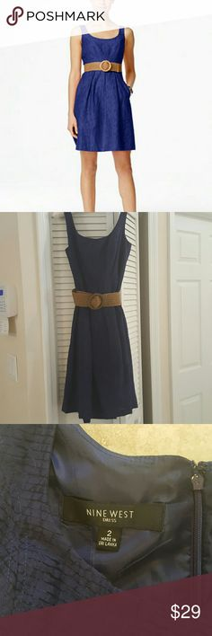 NWOT  deep purple, fit and flare, Nine West dress Beautiful deep purple, flattering fit.  Adjustable belt for a sexy waistline. New without tags! Nine West Dresses