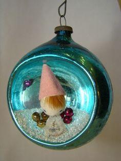 Adorable Vintage CHRISTMAS DIORAMA Teal Blue Glass Ball Ornament, Japan | eBay