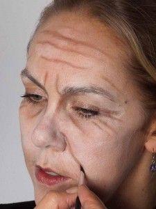 Als -alte Frau- für Karneval oder Mottoparty schminken - NasolabialFalte