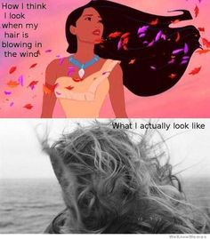 The 20 Best Beauty Memes of All Time - how i think i look when my hair is blowing in the wind 20 Beauty Memes That Really Get Us I Smile, Make Me Smile, Long Hair Problems, Humor Grafico, I Love To Laugh, Disney Memes, Funny Disney, Disney Quotes, The Villain