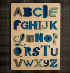 "Font Alphabet Puzzle by looodus on Etsy, €180.00...way out of my price range, but I love the typography alphabet puzzle. Oh and so happy Papyrus was not used for ""P""! @Lieza Timms Timms Bates I thought you would like this as well:)"
