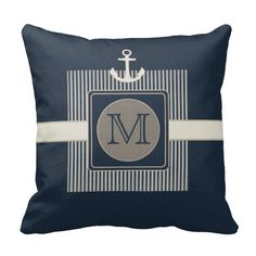 Burlap Effect Nautical Ship's Custom Anchor Monogram Pillows