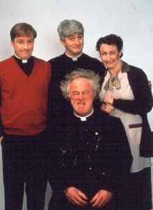 The four main characters of Father Ted. Middle rear: Father Ted Crilly (Dermot Morgan), left: Father Dougal McGuire (Ardal O'Hanlon), front: Father Jack Hackett (Frank Kelly), right: Mrs Doyle (Pauline McLynn).