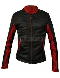 Effulgent Black & Red Biker Jacket for Women