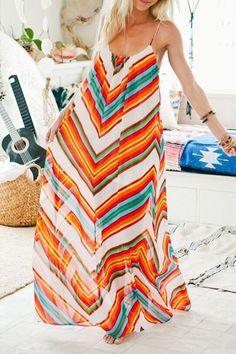Bright colored maxi dress
