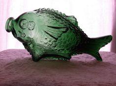 Green glass fish bottle by BeattysTreasure on Etsy, $25.00