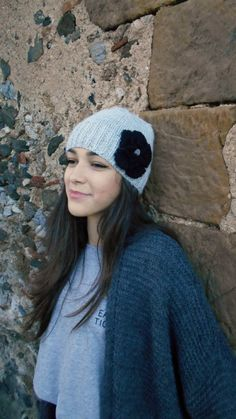 Hand knitted  alpaca womens grey beanie by LAlabastroCreazioni