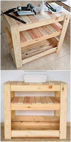 Giving you out with so many excellent ideas of the wood pallet sink stand designs; this wood pallet Pallet Patio Furniture, Furniture Projects, Rustic Furniture, Diy Furniture, Antique Furniture, Furniture Stores, Rustic Chair, Furniture Market, Furniture Outlet