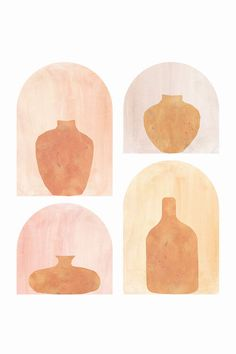 Abstract Terracotta Vases Canvas Print by Whales Way | iCanvas