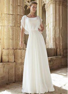 Elegant Chiffon Scoop Neckline A-line Wedding Dress With Appliques