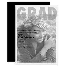Modern Grad Graduate Graduation PHOTO Party Invite - invitations personalize custom special event invitation idea style party card cards