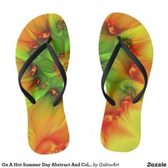 On A Hot Summer Day Abstract And Colorful Fractal Flip Flops