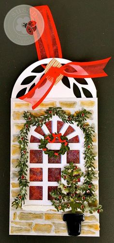 Day 8 of Susan Tierney-Cockburn's 12 Tags of Christmas. Her Carolina Window (1086) is adorned with Pine boughs from CountryScapes - Backyard 4 (1079) and a wreath and bow from CountryScapes - Backyard 2 (1010). The mini holly is from Garden Notes - Holiday Holly & Berries (1088). New England Stonewall (1084) fills the background. She used a portion of Garden Notes - Woods 4 (1093). Glitter Dots (7018) light up the tag! Find the supplies here: http://www.elizabethcraftdesigns.com/