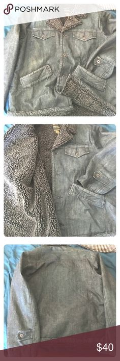 Lucky Brand Jean Jacket Lucky Brabd denim jacket. Dark gray Sherpa interior. Nice big pockets. Button down. Bomber style. Like new. Barely worn. Very warm, heavy coat. Good for staying stylish in snow and bitter cold. Vintage inspired style. Lucky Brand Jackets & Coats Bomber & Varsity