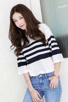 Side Slant Striped T-shirt T-ST